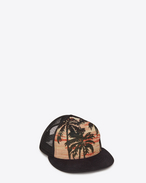 Cappello Trucker arancione e multicolore in cotone e jacquard di poliestere intessuto a motivo Palm Trees at Sunset