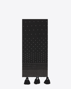 Signature Oversized Tasseled Scarf in Black Wool and Silver-Toned Studs