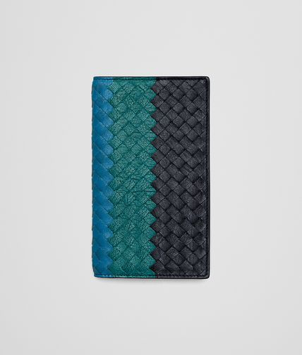 CONTINENTAL WALLET IN NEW DARK NAVY CANARD BLUETTE INTRECCIATO CLUB