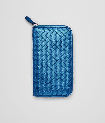 ZIP AROUND WALLET IN BLUETTE INTRECCIATO GROS GRAIN