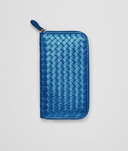ZIP AROUND WALLET IN BLUETTE INTRECCIATO GROS GRAIN