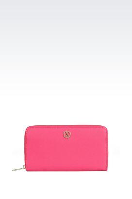 Armani Wallets Women zip around wallet in faux saffiano