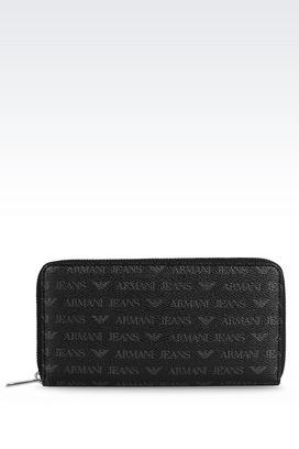 Armani Wallets Men zip around wallet in logo patterned faux leather