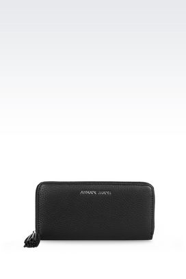 Armani Wallets Men zip around wallet in tumbled faux leather