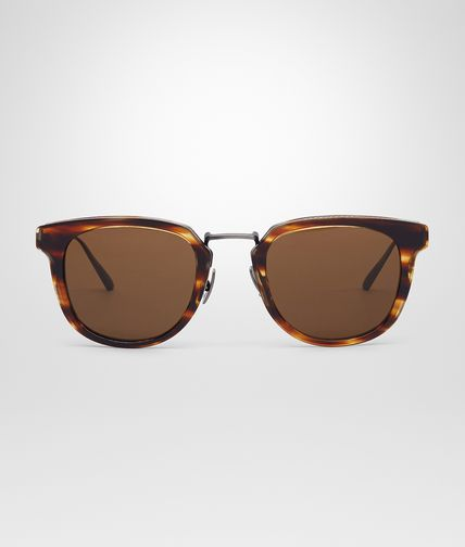 SUNGLASSES IN SILVER TITANIUM ACETATE WITH BROWN LENS