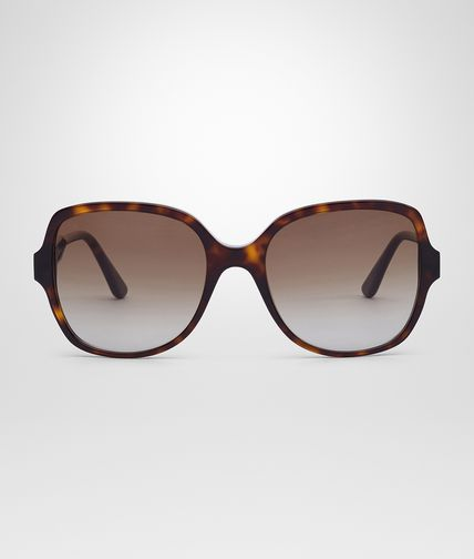 SUNGLASSES IN DARK HAVANA ACETATE LEATHER BROWN LENS