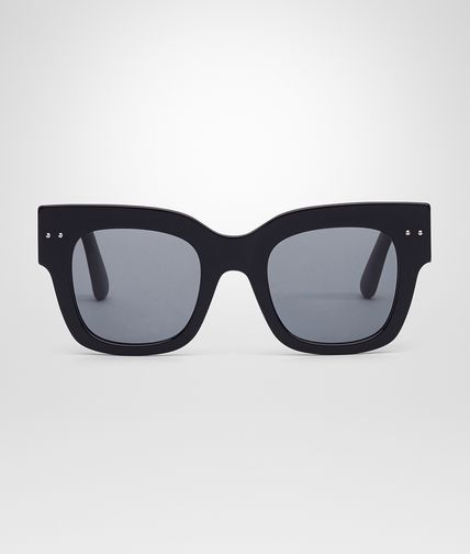 SUNGLASSES IN BLACK ACETATE RUBBER GREY POLAR LENS