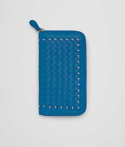 ZIP AROUND WALLET IN BLUETTE INTRECCIATO LAMBSKIN, METAL STUDS