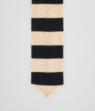 TIE IN TAUPE BLACK KNITTED SILK