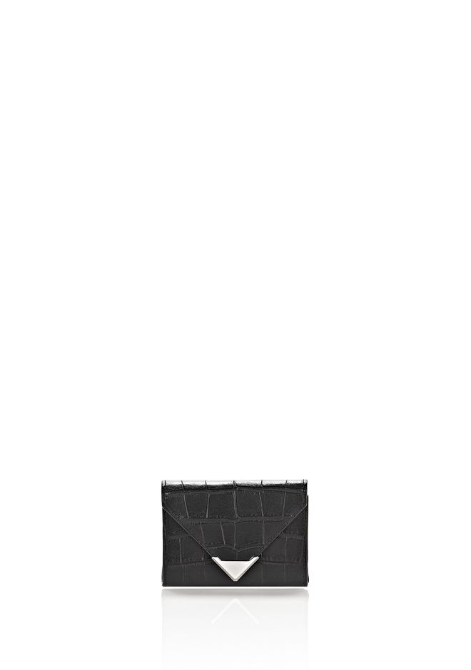 ALEXANDER WANG slgsccwp PRISMA ENVELOPE COMPACT IN CROC EMBOSSED BLACK WITH RHODIUM