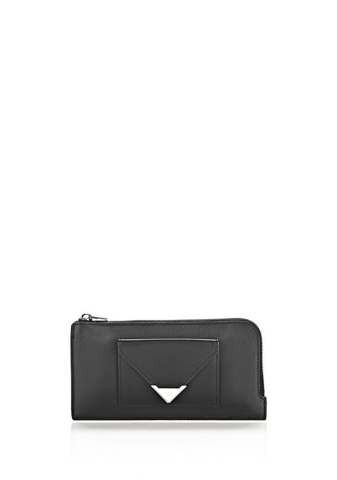 ALEXANDER WANG Wallets Women PRISMA ZIPPED CONTINENTAL WALLET IN BLACK WITH RHODIUM