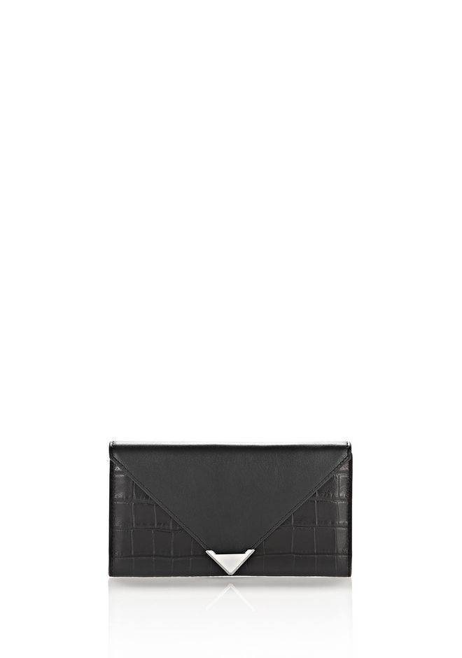 ALEXANDER WANG Wallets Women PRISMA ENVELOPE WALLET IN CROC EMBOSSED BLACK WITH RHODIUM