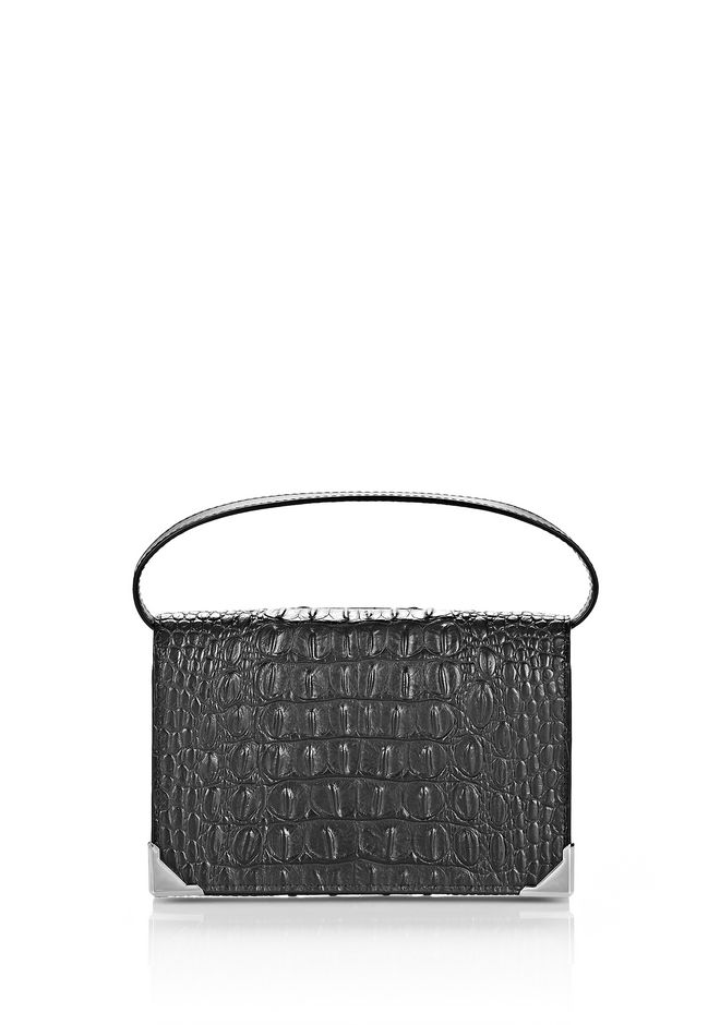 ALEXANDER WANG slgsccwp PRISMA BIKER PURSE IN CROC EMBOSSED BLACK WITH RHODIUM