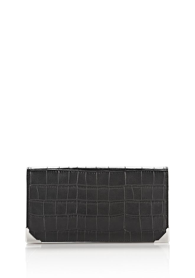 ALEXANDER WANG Wallets Women PRISMA LONG COMPACT IN CROC EMBOSSED BLACK WITH RHODIUM