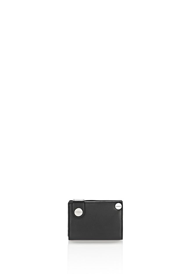 MASON HINGE WALLET IN BLACK WITH RHODIUM