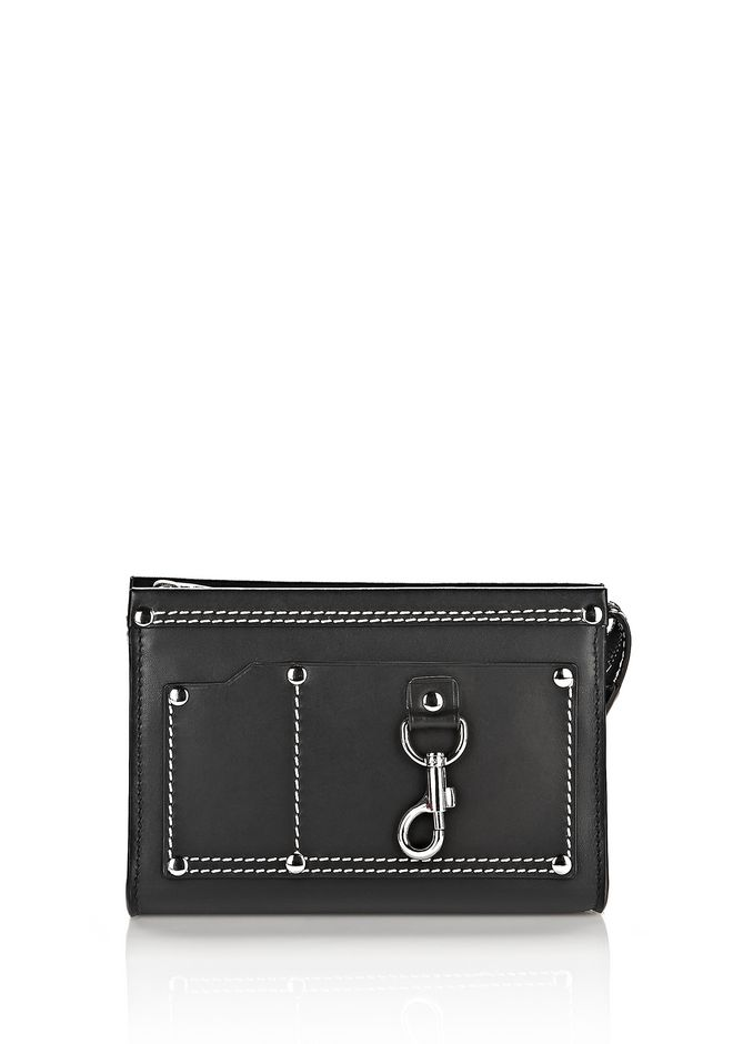 ALEXANDER WANG slgsccwp MASON SMALL POUCH IN BLACK WITH RHODIUM