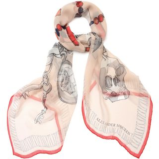 ALEXANDER MCQUEEN, Silk Fashion Scarf, Silk Chunky Charms Shawl