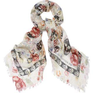 ALEXANDER MCQUEEN, Silk Fashion Scarf, Medieval Skull Scarf