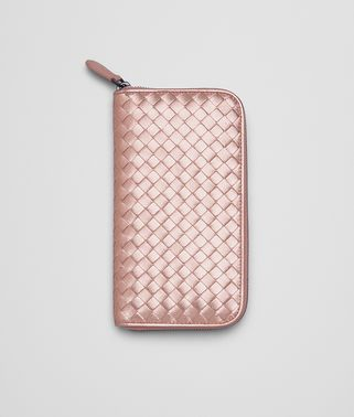 ZIP AROUND WALLET IN PETALE INTRECCIATO GROS GRAIN