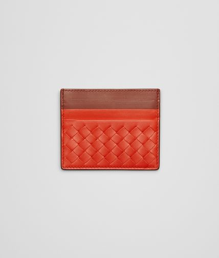 CARD CASE IN VESUVIO RUSSET INTRECCIATO NAPPA