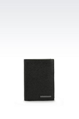 Armani Wallets Men tri-fold wallet in faux saffiano
