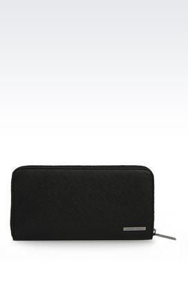 Armani Wallets Men zip around wallet in faux saffiano