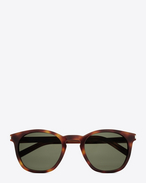 Classic 28 Sunglasses in Shiny Light Havana Acetate with Green Lenses