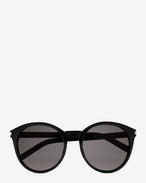 Classic 6 Sunglasses in Shiny Black Acetate with Smoke Lenses