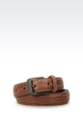 Armani Leather belts Men belt in croc print calfskin
