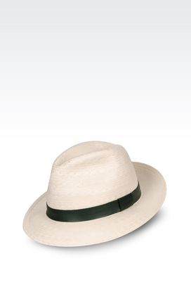 Armani Hats Men classic hat with leather band