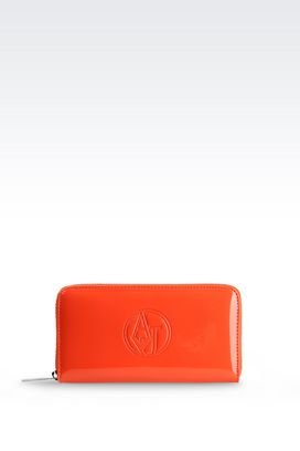Armani Wallets Women zip around wallet in faux patent leather with logo