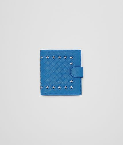 MINI WALLET IN BLUETTE INTRECCIATO LAMBSKIN, METAL STUDS