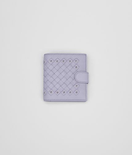 MINI WALLET IN OYSTER INTRECCIATO LAMBSKIN, METAL STUDS