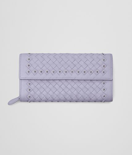 CONTINENTAL WALLET IN OYSTER INTRECCIATO LAMBSKIN, METAL STUDS