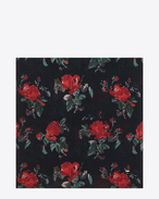 Large Square Scarf in Black and Red Grunge Rose Printed Wool Étamine