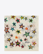 Large Square Scarf in Off White and Multicolor Star Printed Wool Étamine