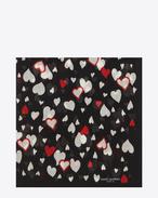 Sciarpa quadrata large nera e rossa in étamine di lana con stampa Heart