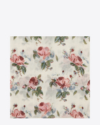 Large Square Scarf in Off White and Pink Grunge Rose Printed Wool Étamine