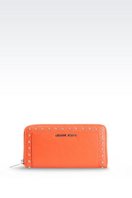 Armani Wallets Women zip-around wallet in faux leather with studs