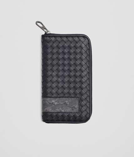 ZIP AROUND WALLET IN TOURMALINE INTRECCIATO NAPPA AND ARDOISE OSTRICH