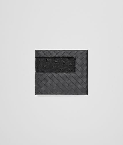 WALLET IN ARDOISE INTRECCIATO NAPPA AND NERO OSTRICH