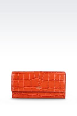 Armani Wallets Women button wallet in croc print calfskin