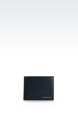 Armani Wallets Men bi-fold wallet in faux saffiano