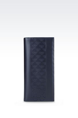 Armani Wallets Men wallet in logo patterned calfskin
