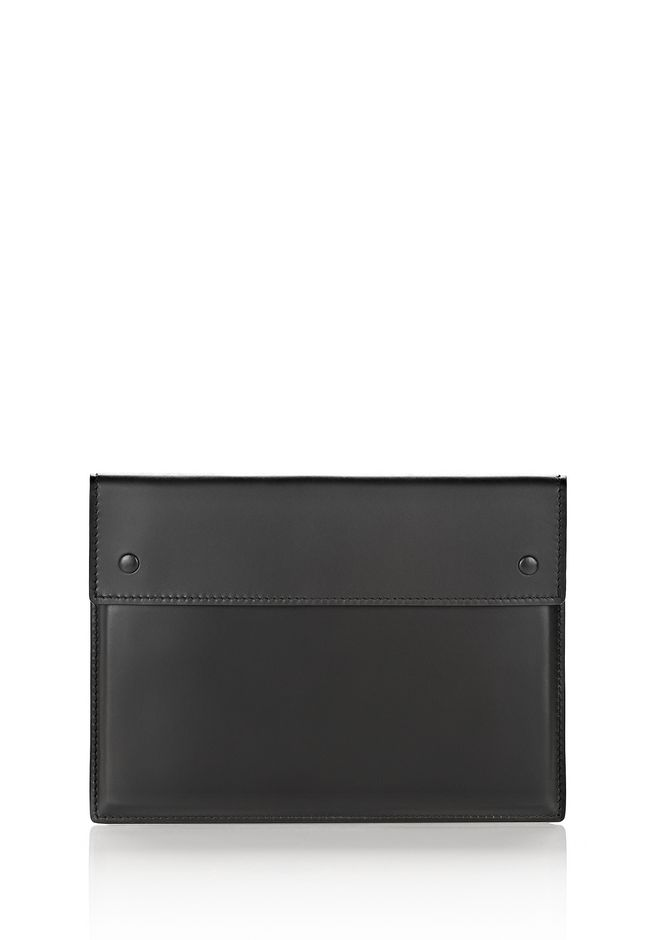 ALEXANDER WANG SMALL LEATHER GOODS A4 POUCH IN SMOOTH BLACK