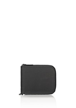 ZIPPED BI-FOLD WALLET IN RUBBERIZED BLACK