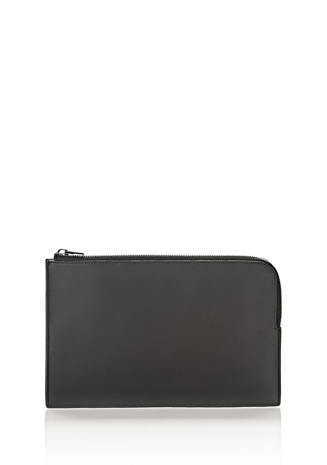 ALEXANDER WANG SMALL LEATHER GOODS LARGE FLAT POUCH IN PEBBLED BLACK