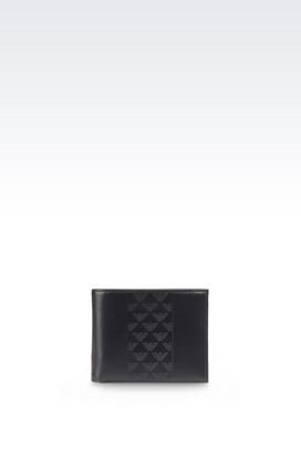 Armani Wallets Men bi-fold wallet in leather with all over logo