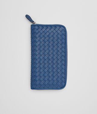 海洋蓝编织小羊皮拉链钱包