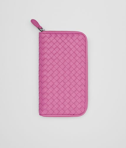 ZIP AROUND WALLET IN PEONY INTRECCIATO NAPPA